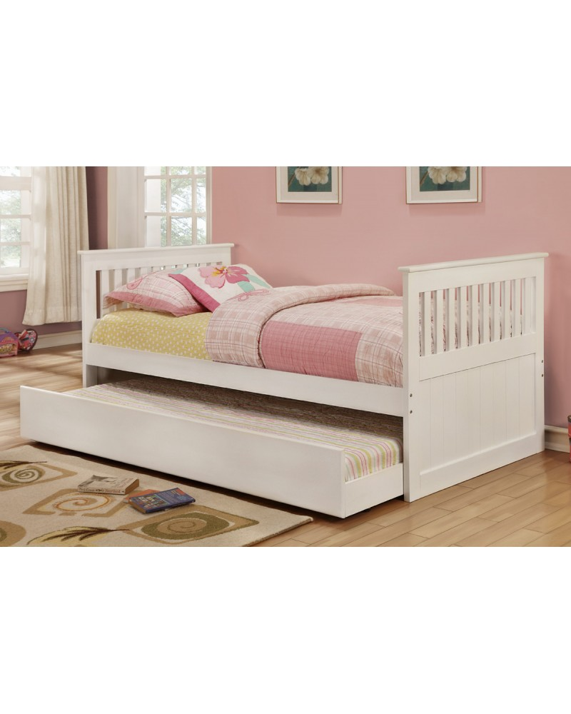 white trundle bed poundex youth bedroom trundle bed in white solid wood 13860