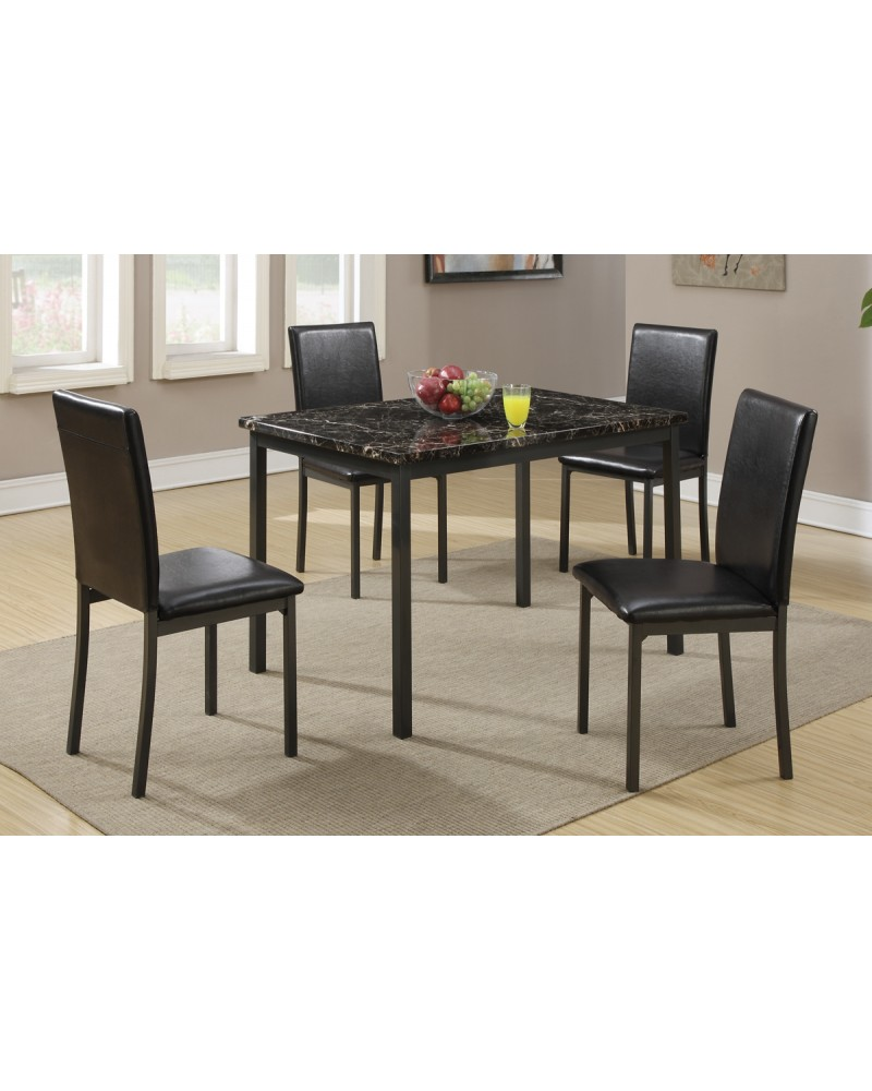 Black Marble Dining Table with 4 Chairs by Poundex - Model F2361
