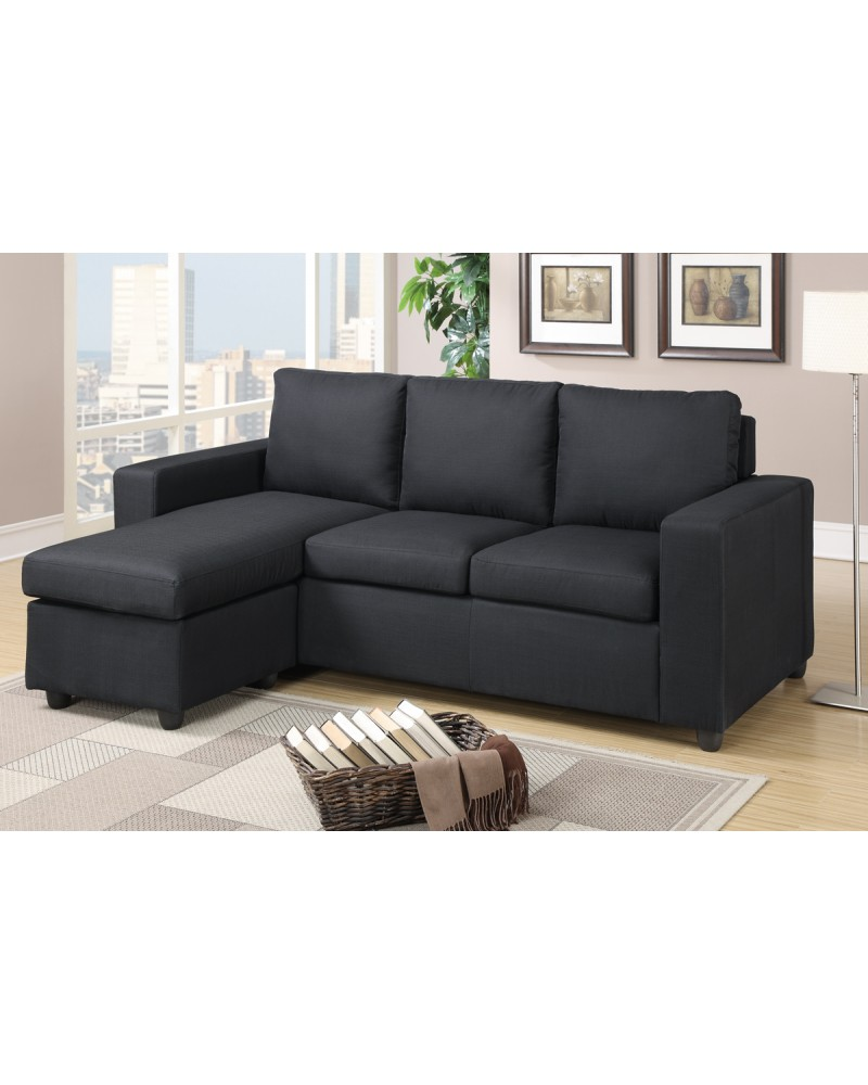 Black Linen Sectional Set by Poundex - F7490