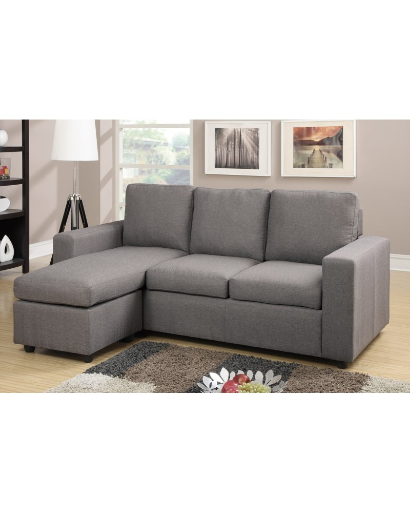 Grey Linen Sectional Sofa by Poundex - F7491