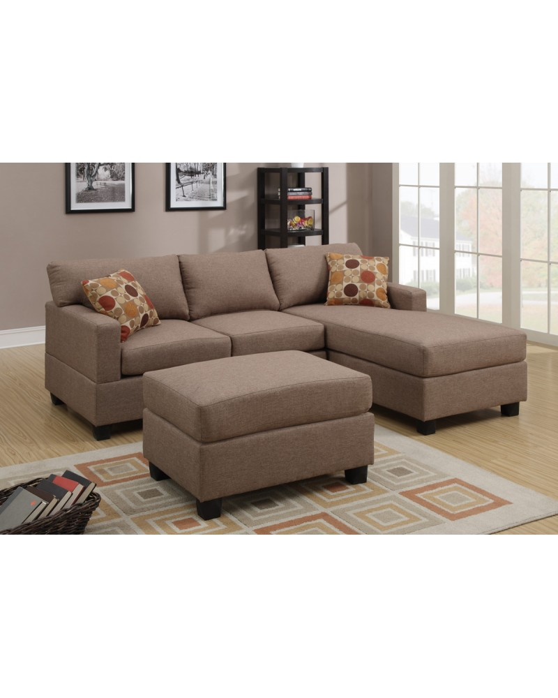 3 Pcs Reversible Brown Sectional Sofa by Poundex - F7495