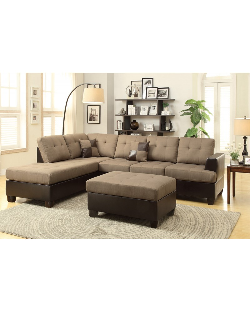 3 Piece Reversible Sectional Sofa in Tan by Poundex - F7603
