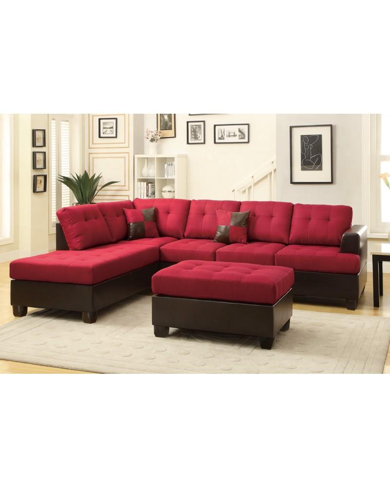 3 Pcs Reversible Carmine Sectional Sofa by Poundex - F7601