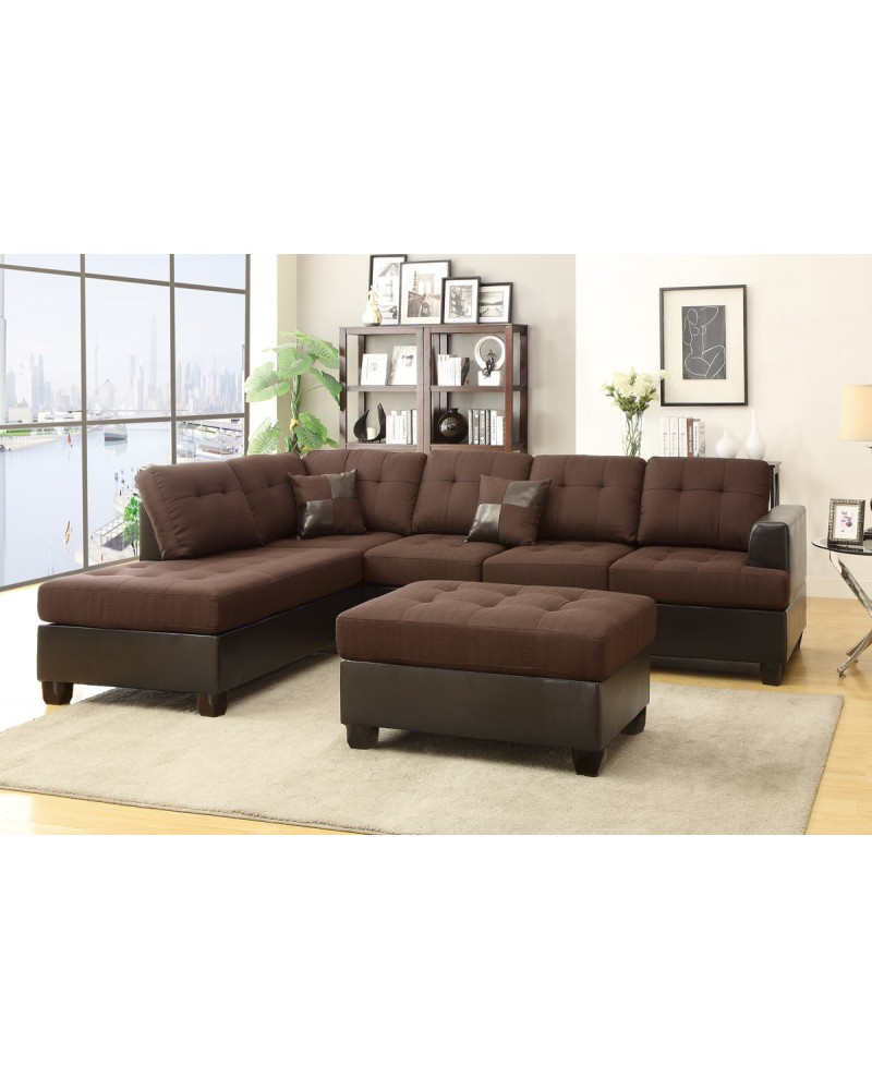 3 Pcs Two Tone Chocolate Sectional by Poundex - F7602