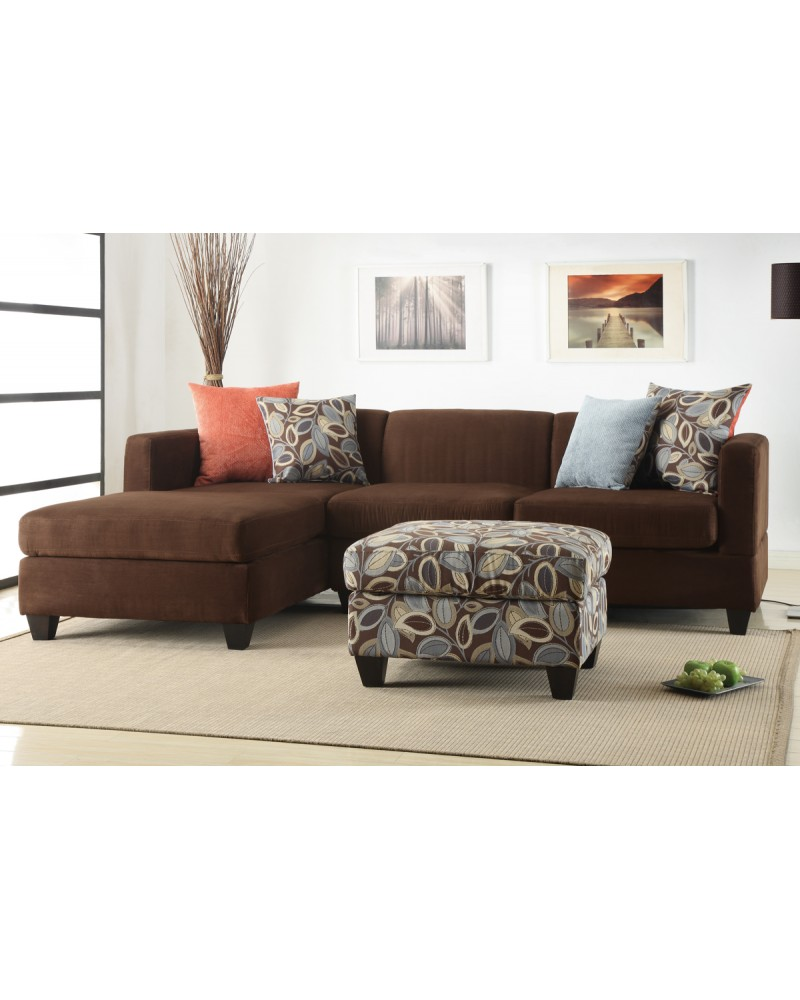 2 Pc Microfiber Chocolate Sectional Set - F7182