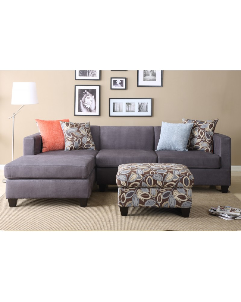 2 Pcs Charcoal Microfiber Sectional Set  - F7183