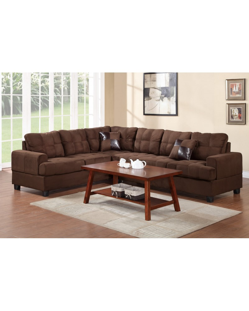 2 Pcs Microfiber  Plush Chocolate Sectional Set by Poundex - F7627
