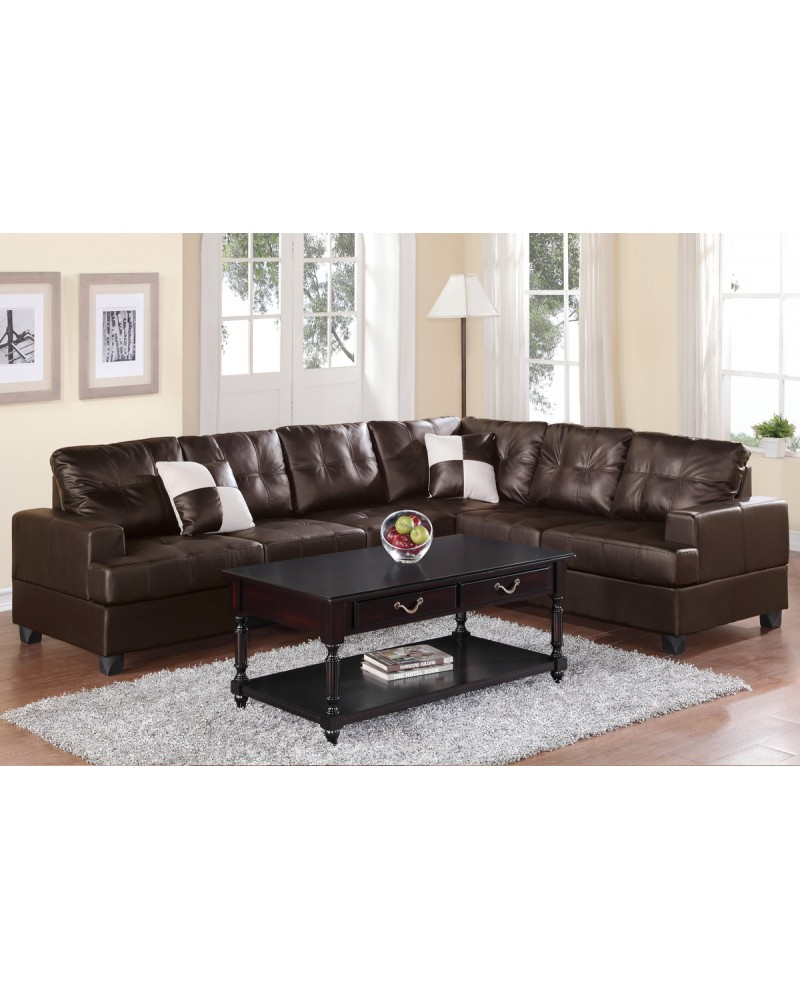 2 Pcs Espresso Leather Sectional Set - F7629