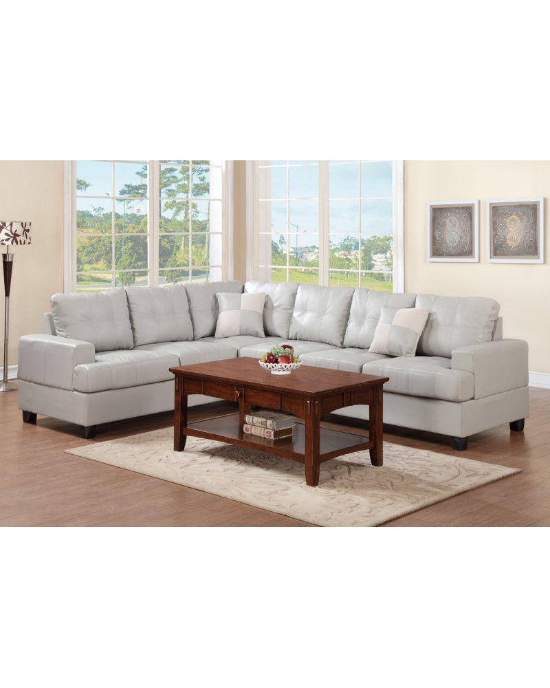 Grey Leather Sectional  - F7639