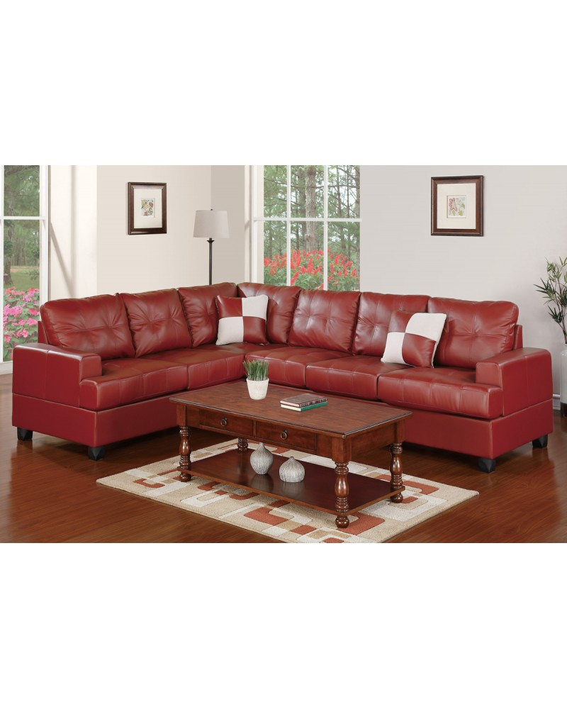 2 Pc Burgundy Faux Leather  Sectional Set  by Poundex - F7642