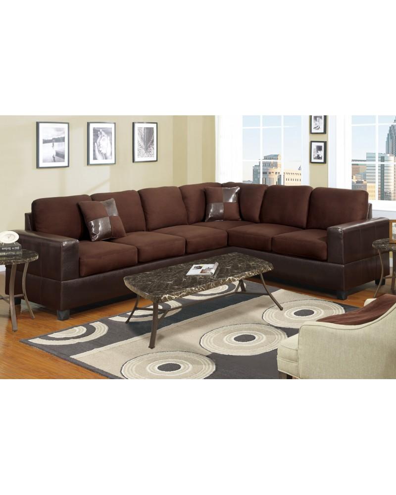 Two Tone Microfiber Sectional Sofa - F7631