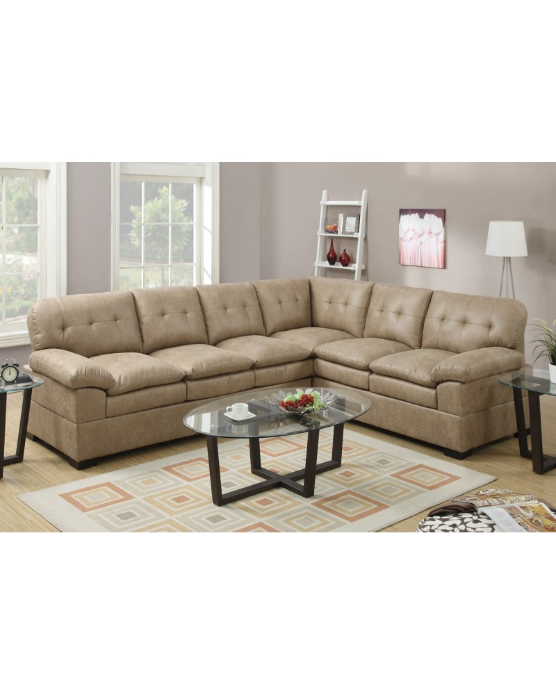 2 Piece Tyson Cappuccino Sectional Sofa by Poundex - F7684