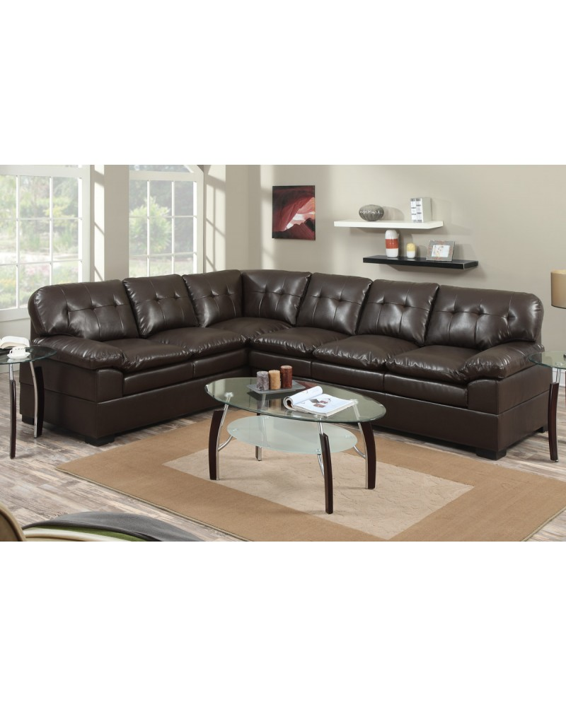 2 Piece Bonded Espresso Sectional Set by Poundex - F7689