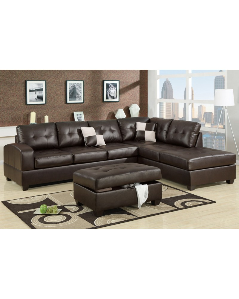 2 Piece Bonded Espresso Sectional Set with ottoman by Poundex - F7358