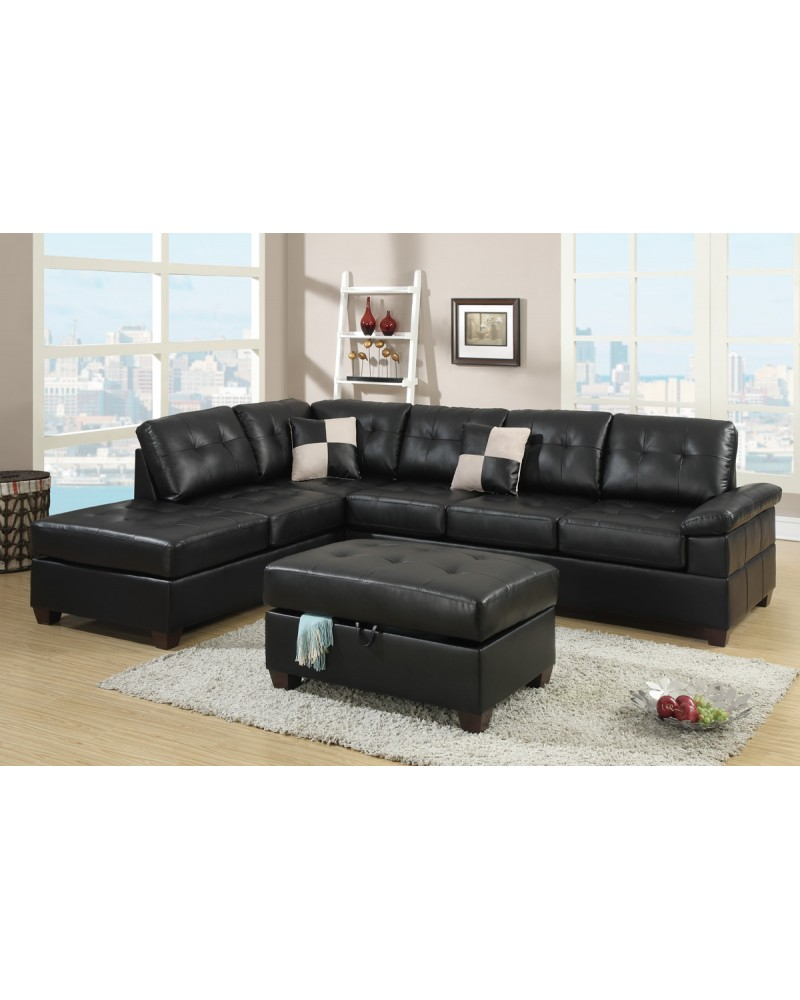 2 Piece Bonded Espresso Sectional Set by Poundex - F7519