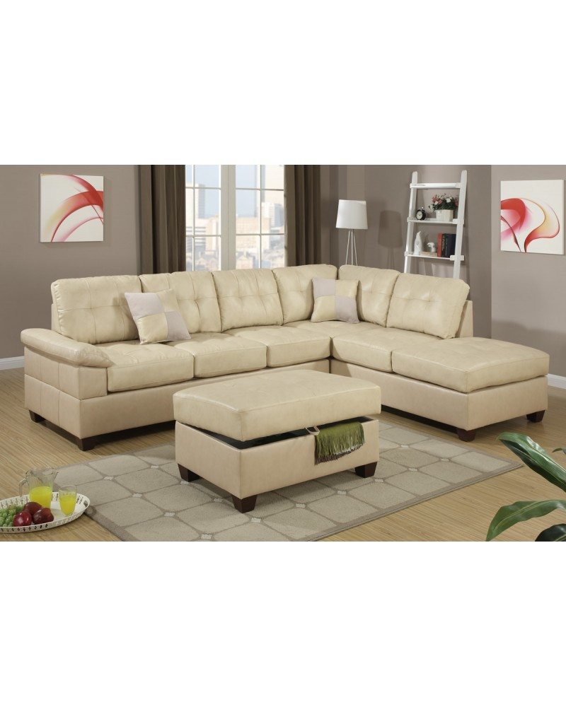 2 Piece Khaki Sectional Sofa with chaise ottoman by Poundex - F7520