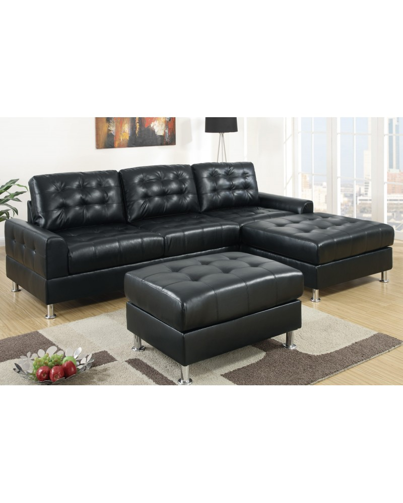 2 Piece Bonded Espresso Sectional Set by Poundex - F7302
