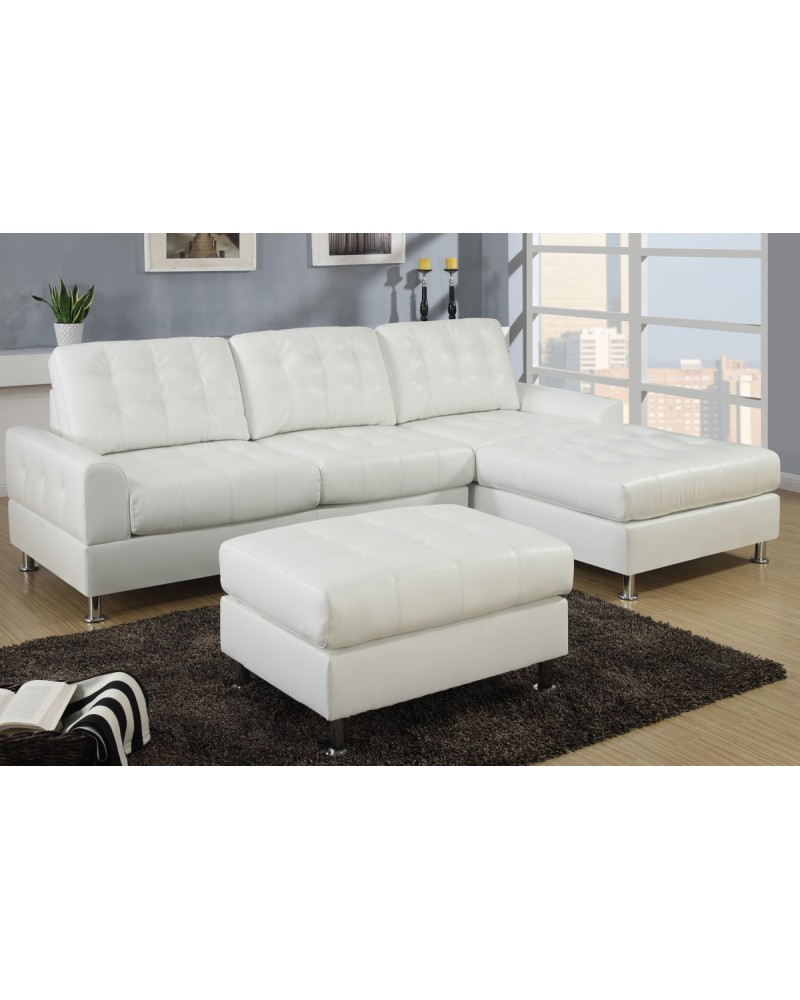 2 Piece Cream Sectional Sofa with ottoman by Poundex - F7308
