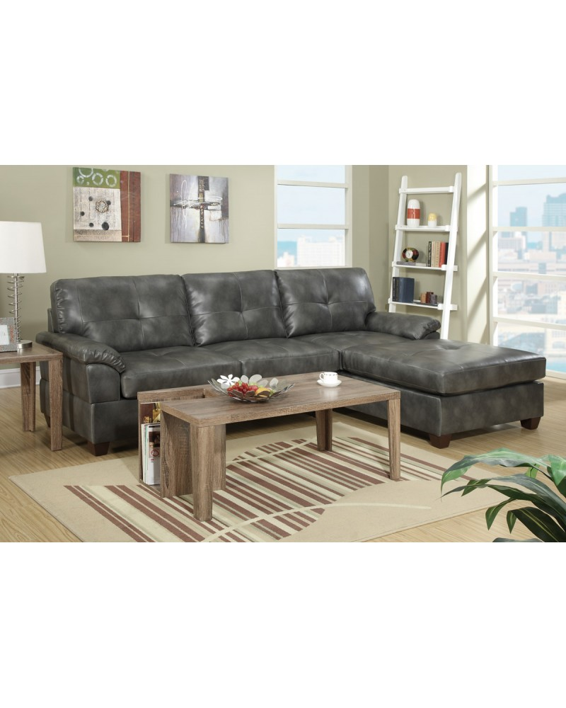 2 Piece Sectional Set in Ash Grey by Poundex - F7408