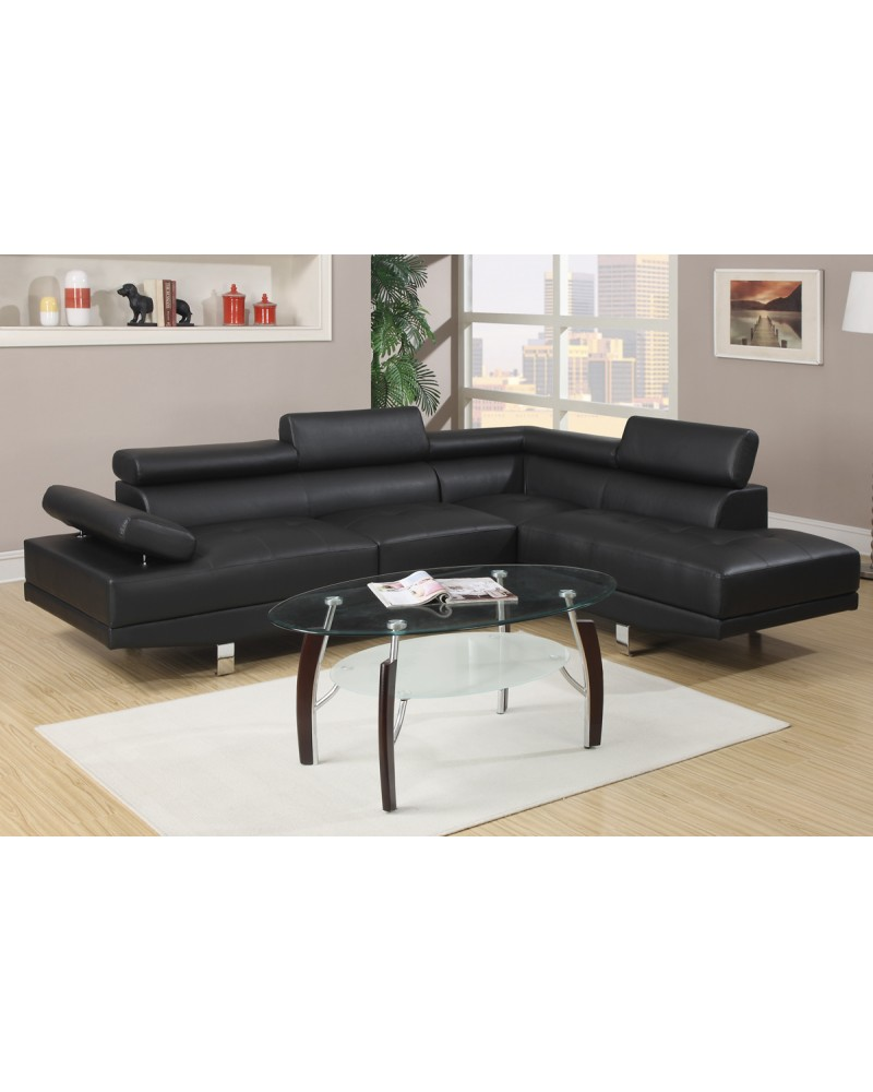 Black Faux Leather Sectional Set by Poundex - F7310