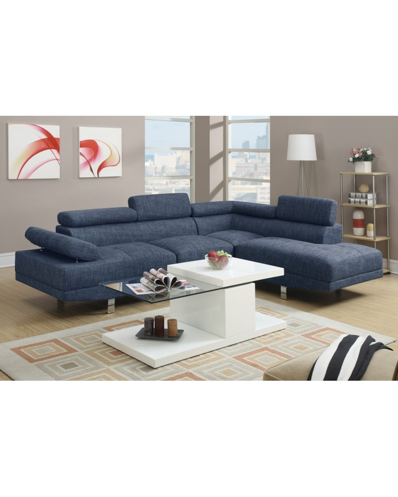 2 Piece Blue Sectional Set by Poundex- F7548