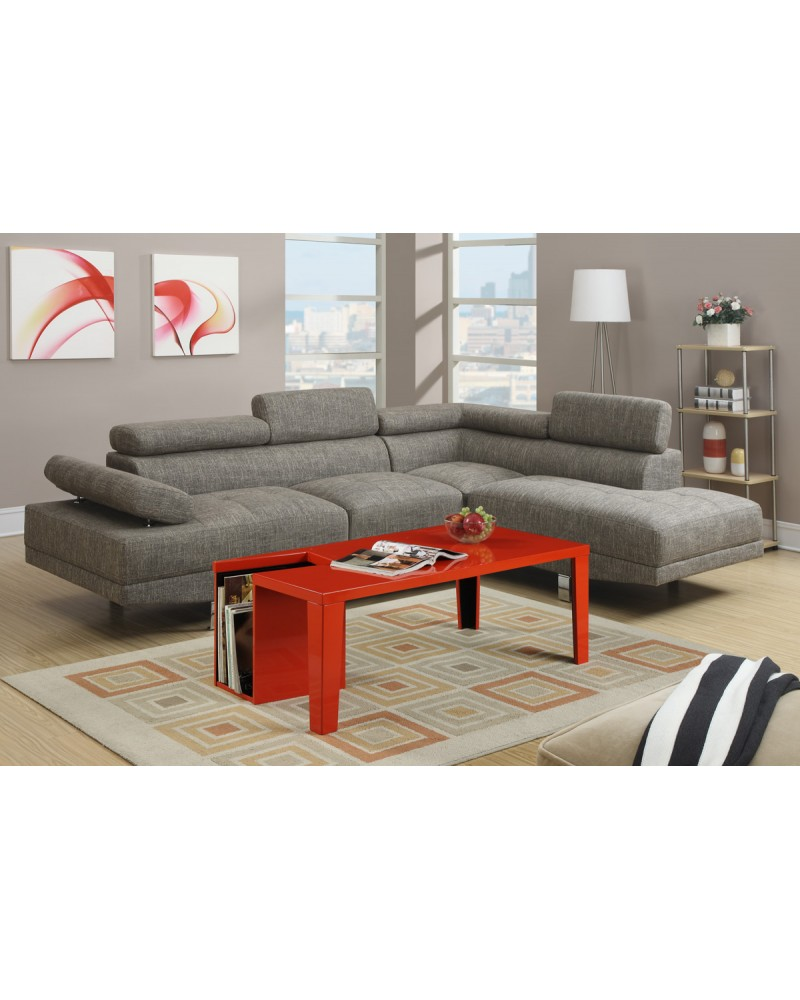 2 Piece Gray Sectional Set - F7549