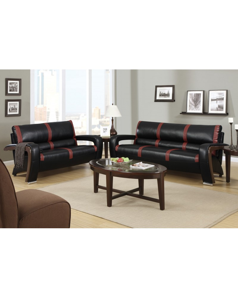 2 Piece Bonded Leather in Black and Red by Poundex - F7254