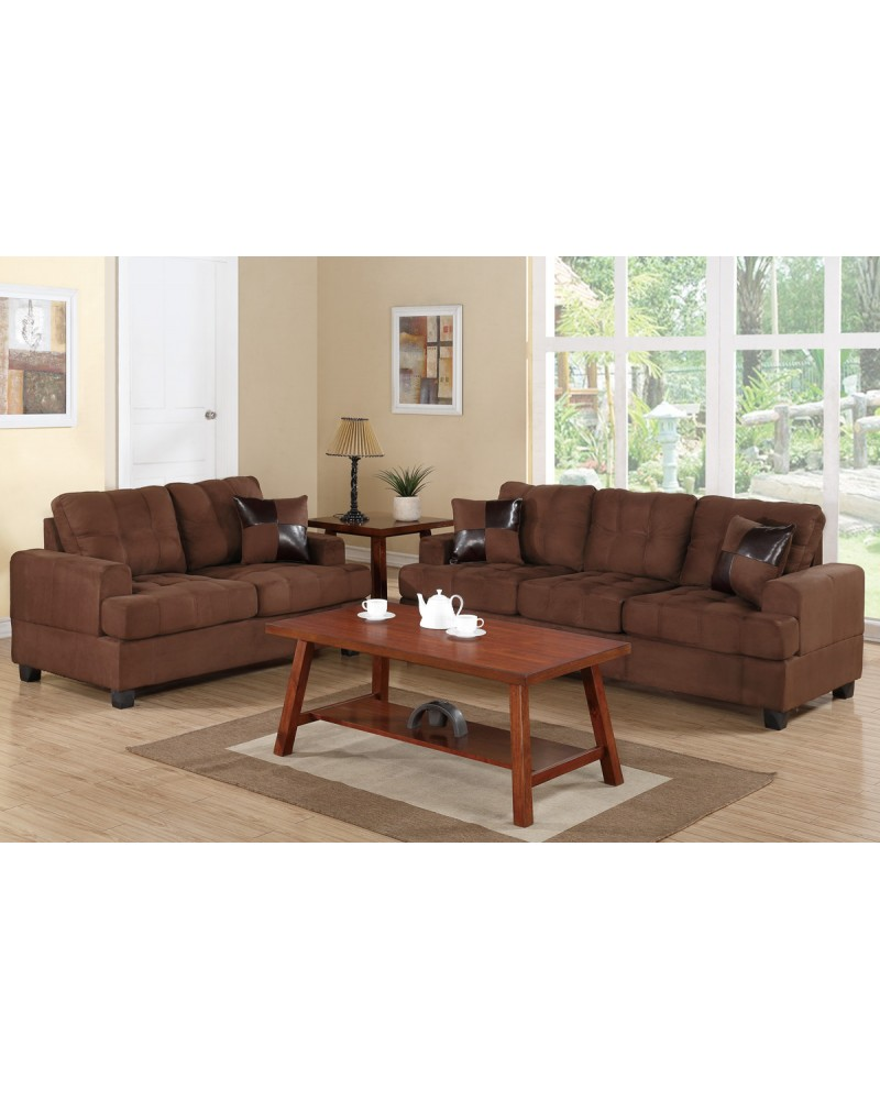 2 Piece Brown Sectional Set by Poundex - F7575