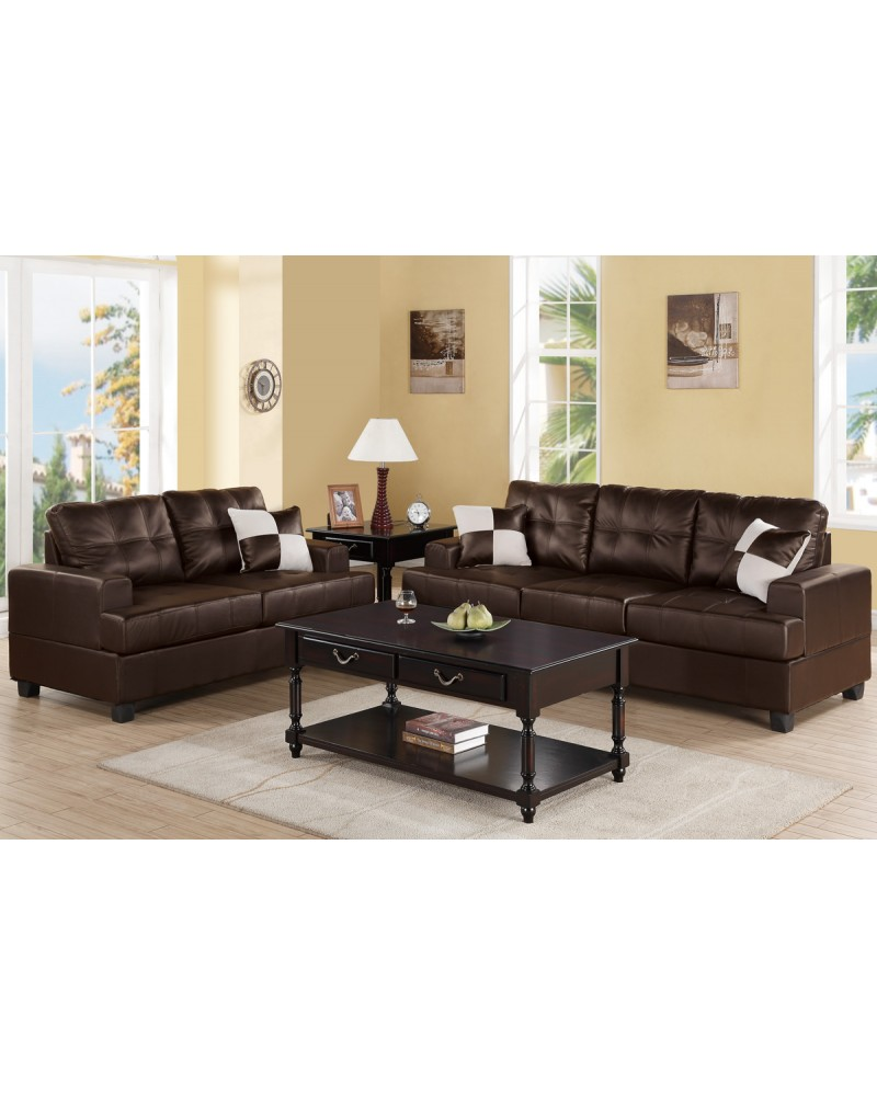 2 Piece Plush Microfiber Sectional Set with Loveseat - F7577