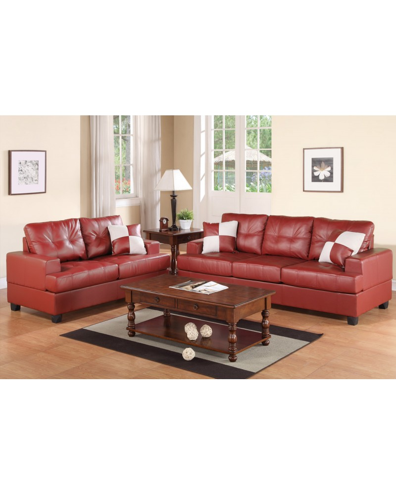 2 Piece Light Burgundy Sectional Set with Loveseat by Poundex - F7579