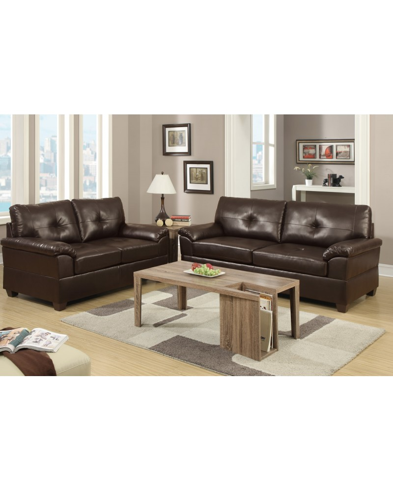 2 Piece Bonded Leather Espresso Sofa and Loveseat- F7581