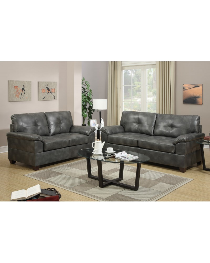 2 Piece ash grey bonded leather sectional set - F7583