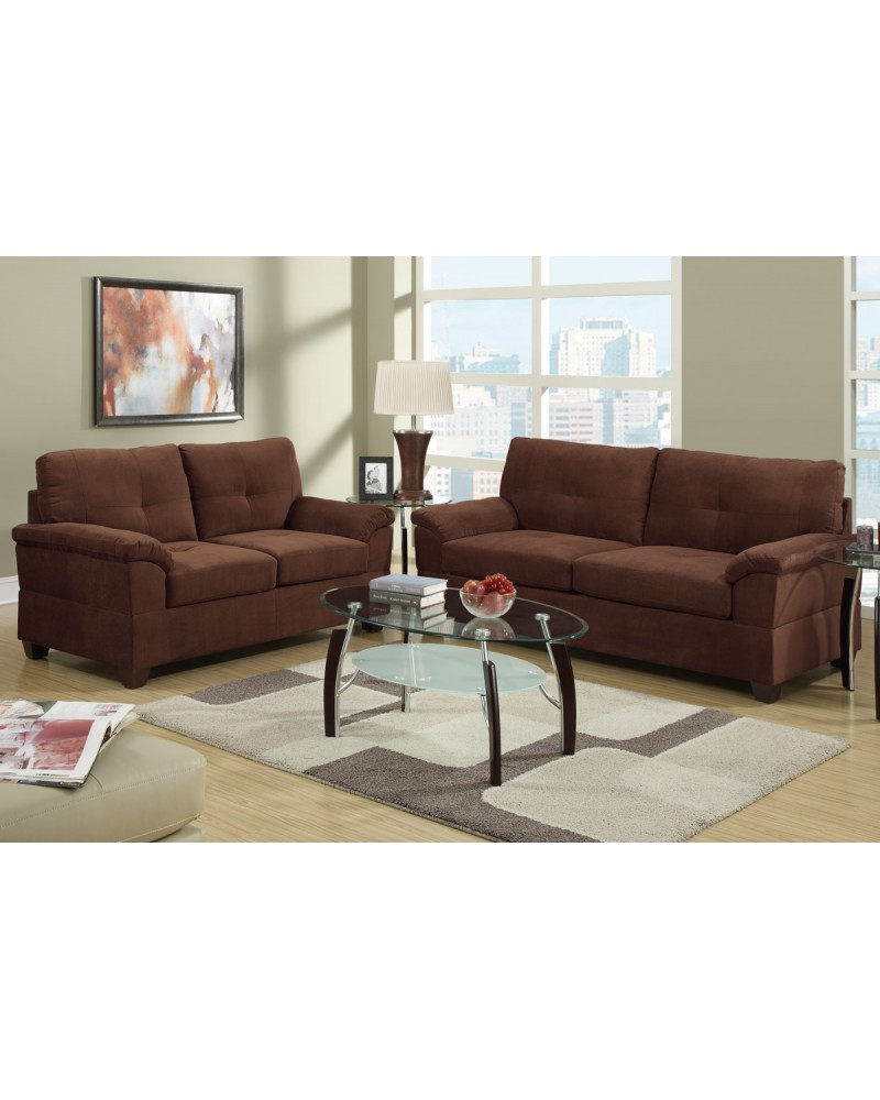 2 Piece Chocolate Sectional Set with loveseat by Poundex - F7584