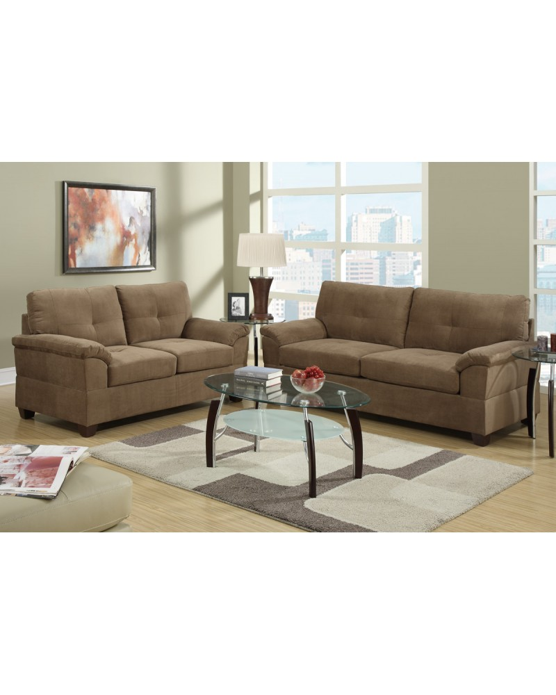 2 Piece Truffle Sectional Set with Loveseat by Poundex -F7586