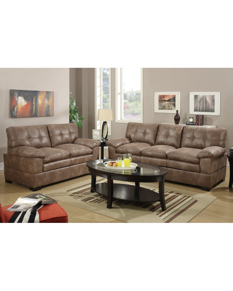 2 Piece Mocha Velvet Sectional Set with Loveseat by Poundex -F7343