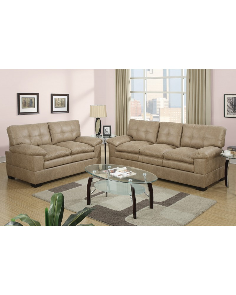 2 Piece Capuccino sectional Set with Loveseat by Poundex -F7344