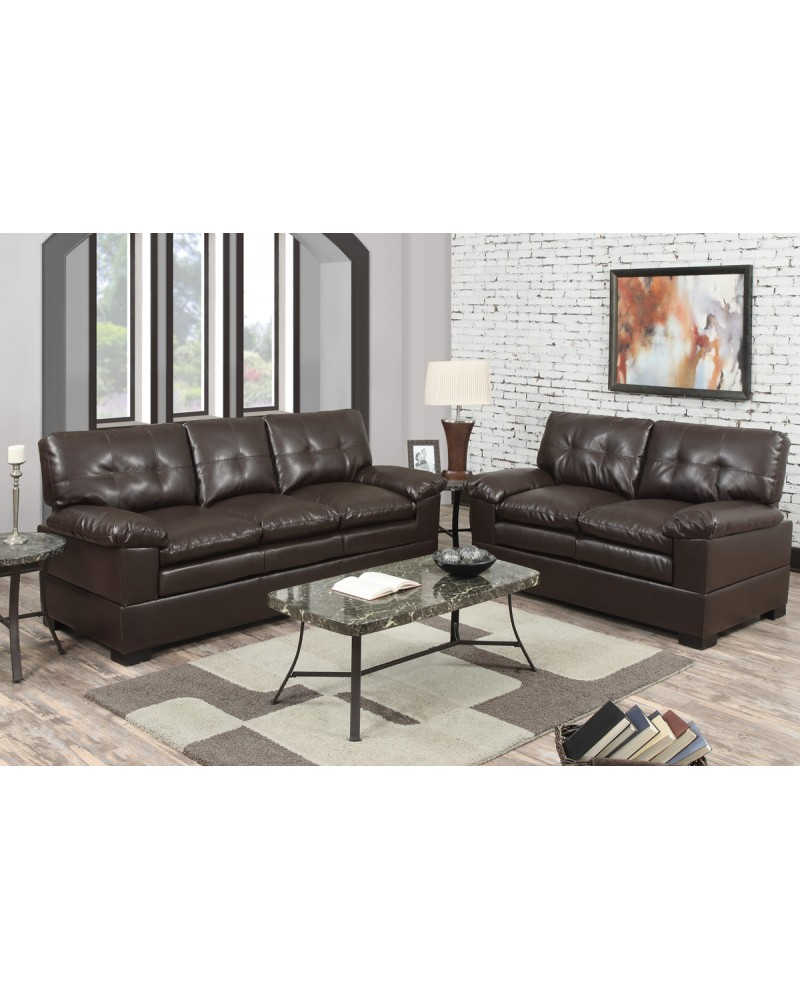 2 Piece Espresso Bonded Leather Sofa by Poundex- F7360