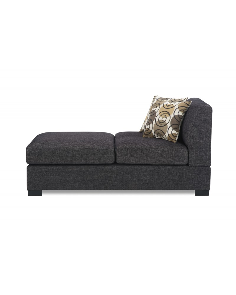 Textured Ash Black  Linen Chaise by Poundex- F7445
