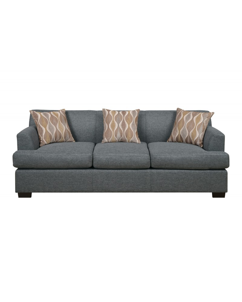 Blue Grey Faux Linen Sofa by Poundex -  F7973