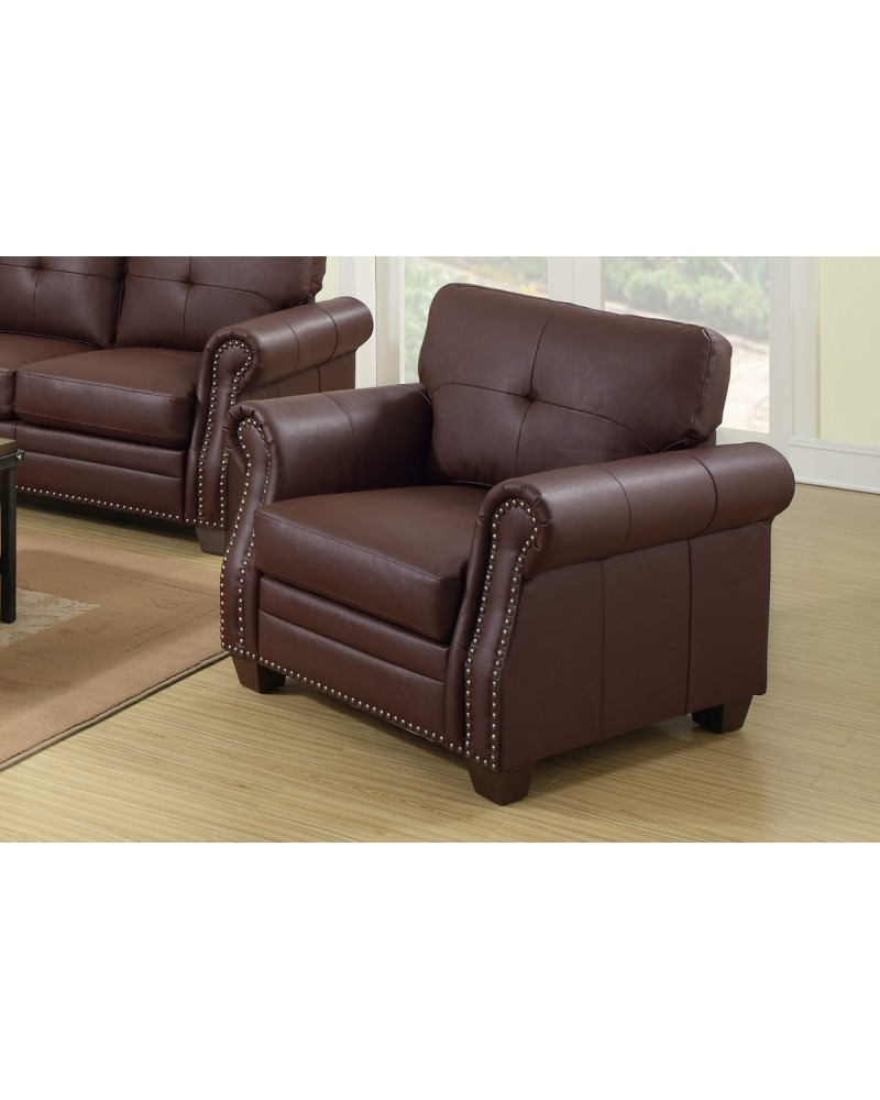 Light Coffee Leather Chair by Poundex - F7800