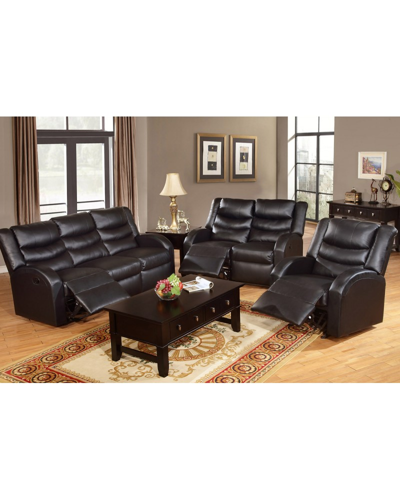 Black Bonded Leather Sofa by Poundex - F6652