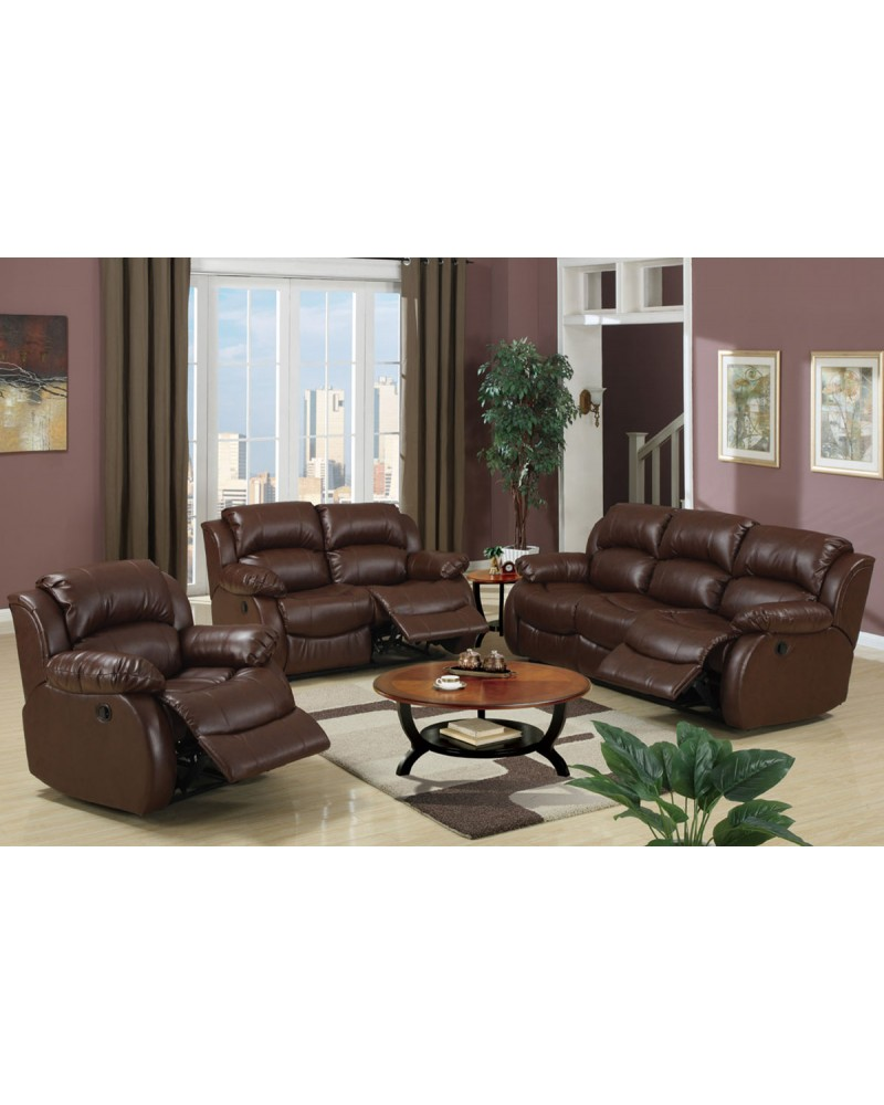 3 Piece Motion Loveseat in Leather by Poundex - F7731