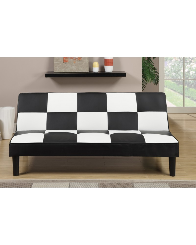 Black and White Adjustable Sofa by Poundex - F7002