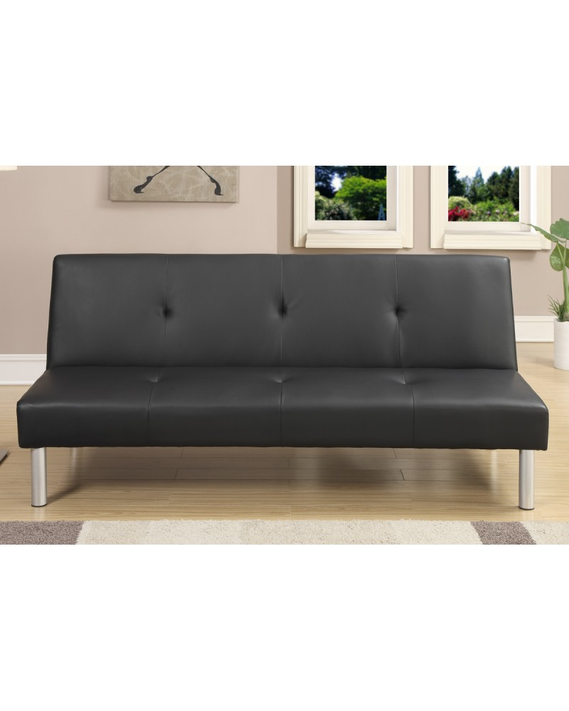 Black Finish Faux Leather Adjustable Sofa by Poundex - F7003