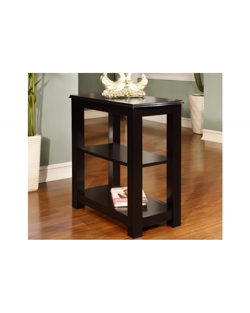 Black Wooden Chairside Table by Poundex - F6262