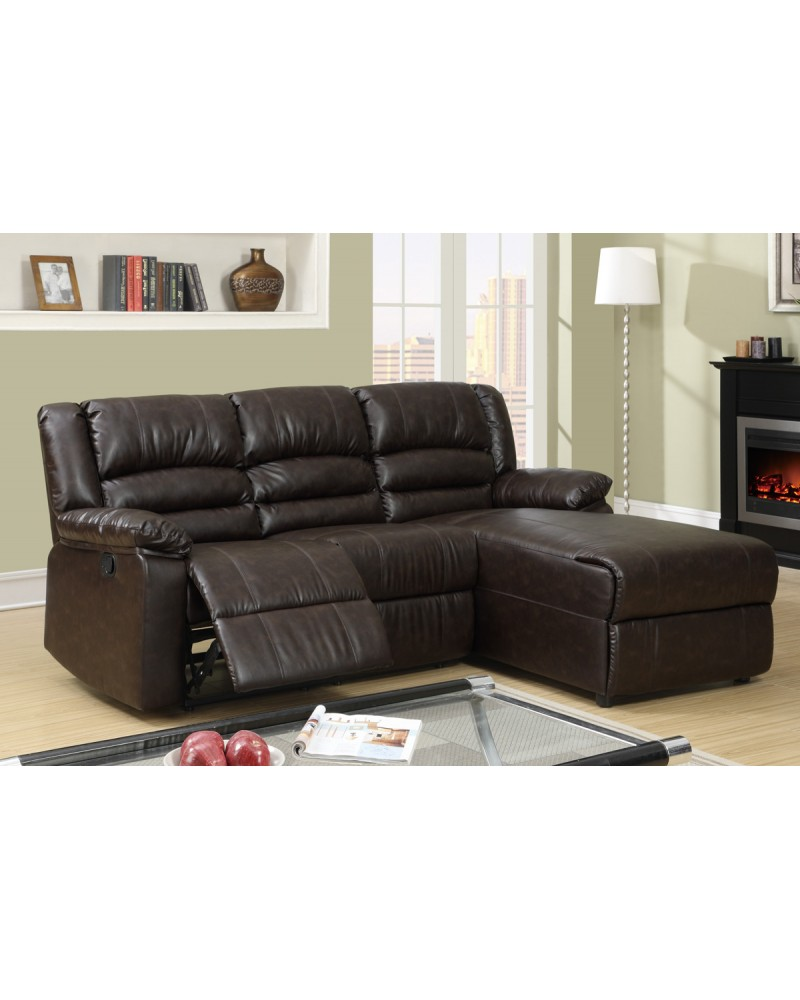Recliner Sectional in Coffee Bonded Leather by Poundex- F6639