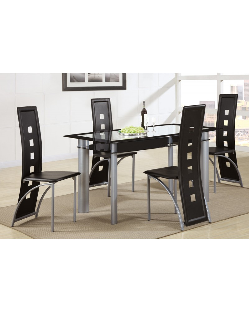 Black Vertical Dining Chair by Poundex - F1274