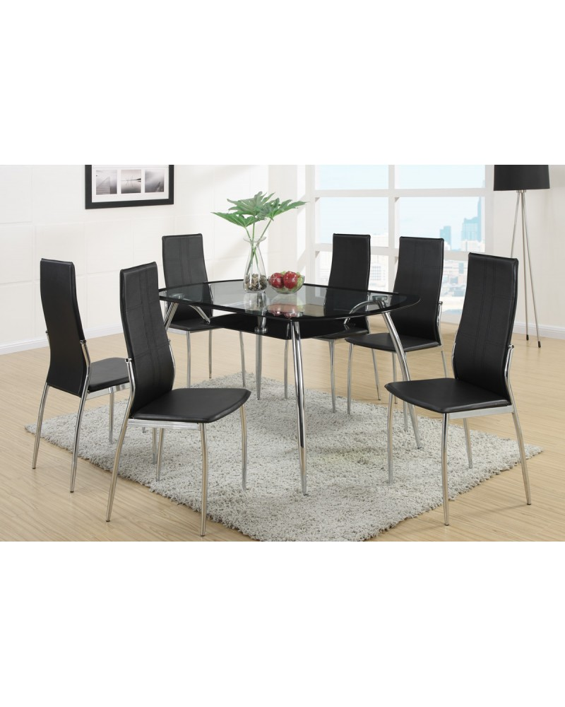 Black Leatherette Dining Chair by Poundex - F1277