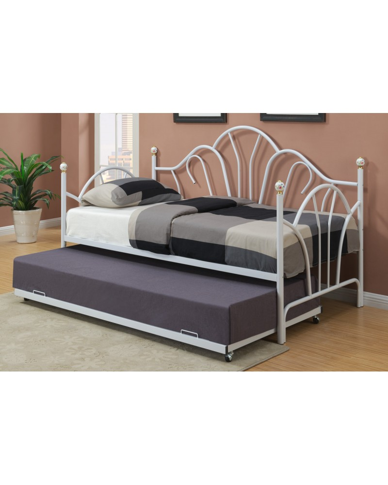 White Finish Trundle Day Bed by Poundex - F9236