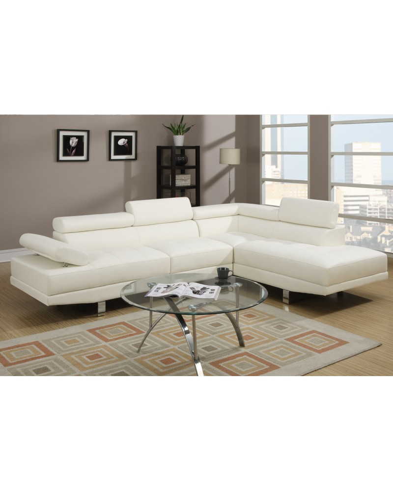 White Faux Leather Sectional Set by Poundex - F7320